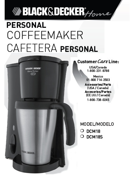 Black & Decker® Brew 'n Go Personal Coffee Maker: Use and Care Manual